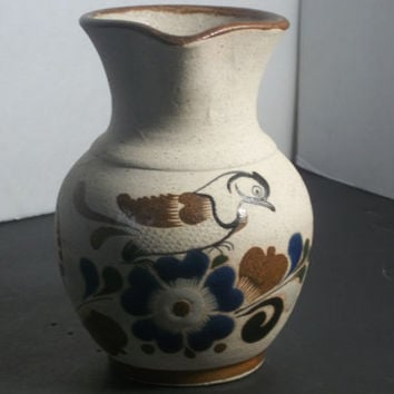 Mexican handmade Pottery, Pitcher, with Hand painted bird and flower design, Vintage, Home decor, Collectible