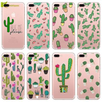 KL-Boutiques For iPhone 5S SE Case For iPhone5 6 6S Plus 7 7Plus Green Plants Cactus Flower Soft Silicon Transparent Phone Cover