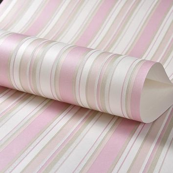 Children Room Non-woven Blue Vertical Striped Wallpaper Modern 3D Pink Stripes Girl Bedroom Wall Decoration Wallpapers For Wall