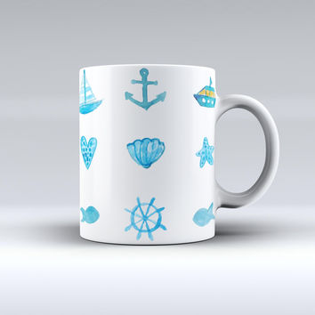 The Nautical Watercolor Pattern ink-Fuzed Ceramic Coffee Mug