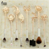 "5 style 8pc Fashion women jewelry Game of Thrones ""Winter is coming""King's Hand/badge/Fish/lion / the sun Makeup/cosmetic brush"