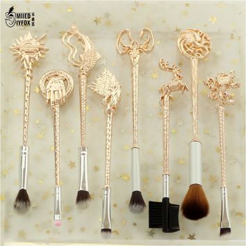 """5 style 8pc Fashion women jewelry Game of Thrones """"Winter is coming""""King's Hand/badge/Fish/lion / the sun Makeup/cosmetic brush"""