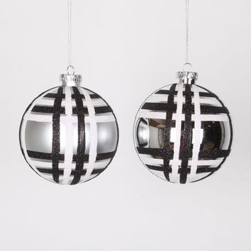 "4ct Silver w/ Black & White Glitter Plaid Shatterproof Christmas Ball Ornaments 4"" (100mm)"