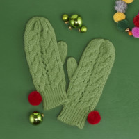 Cozy Cactus Cable Knit Mittens