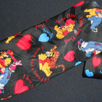 Vintage Pooh Tie Winnie the Pooh Necktie Hearts Love Tiger Eeyore Cartoon Characters Show Animated Mens Novelty Dress Neckwear
