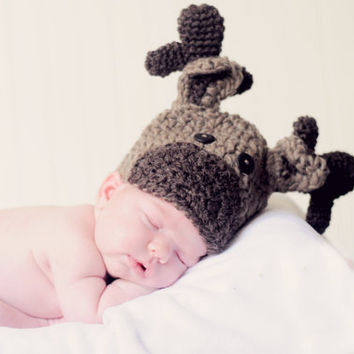 "Hand Crocheted ""Baby Moose Hat"""