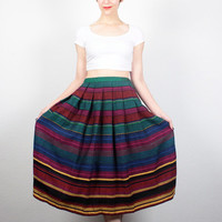 Vintage Midi Skirt 1980s Rainbow Striped Skirt 80s Skirt High Waisted Skirt Full Skirt Classic Tea Length Skirt Preppy pleated Skirt S Small