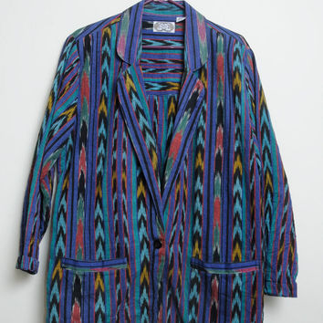 Amazing Vintage 80s/90s Aztec Tribal Awesome Print Smoking Jacket From India unisex