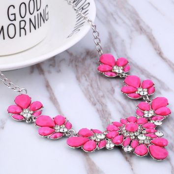 Bohemian CZ Crystal Statement Necklace Collar Blue Yellow Colorful Rhinestone Flower Bead Pendant Choker Necklace for Women