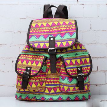 Aztec Ethnic Travel Bag Canvas Lightweight College Backpack