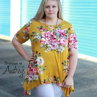 Plus Size Mustard Short Sleeve Top with Floral Print and Asymmetrical Hem