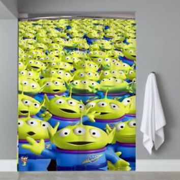 Top Famous Toy Story Aliens Pixar Movie Shower Curtain Limited Edition