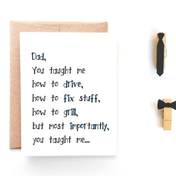 You Taught Me, Father's Day Card