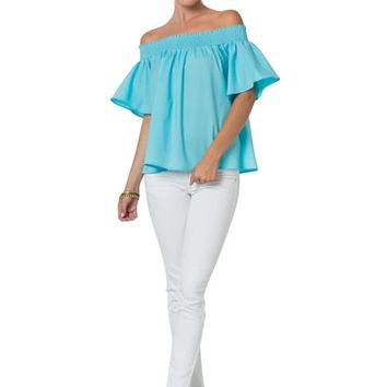 Smocking Off Shoulder Short Sleeve Boho Cropped Blouse T Shirt Top