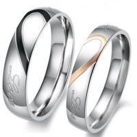 """Lover's Heart Shape Titanium Stainless Steel Mens Ladies Promise Ring """"Real Love"""" Couple Wedding Bands 284 M9"""