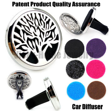 Silver Tree of Life (38mm) Magnet Diffuser 316 Stainless Steel Car Aroma Locket Free Pads Essential Oil Car Diffuser Lockets