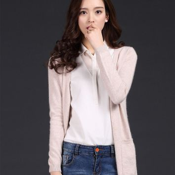 2018 spring and autumn cashmere cardigan medium-long pure cashmere sweater knitted sweater female V-neck