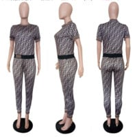 FENDI Women Fashion Casual Pattern Letter Print Short Sleeve Set Two-Piece