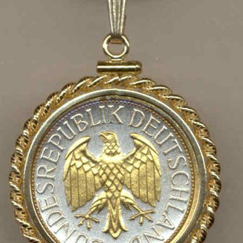 Gorgeous 2-Toned Gold on Silver German  Eagle,  Coin Necklaces