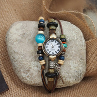 Vintage Round Dial Friendship Leather Belt Watch with Leaf Charm