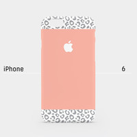 iPhone case - Gray Leopard Pattern on peach color - iPhone 6 case, iPhone 6 Plus case, iPhone 5s case, iPhone 5 case non-glossy