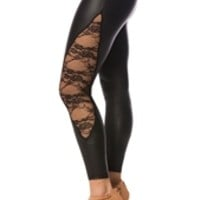 Faux Leather Leggings with Lace - Black