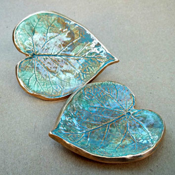 Ceramic Leaf  Set of TWO Small Ring Dishes