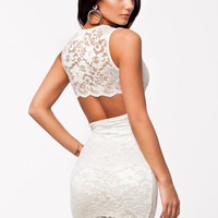White Floral Lace Sleeveless Back Cut Out Bodycon Mini Dress