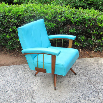 Mid Century Modern Chair, Vintage Rocking Chair, Retro Turquoise Furniture