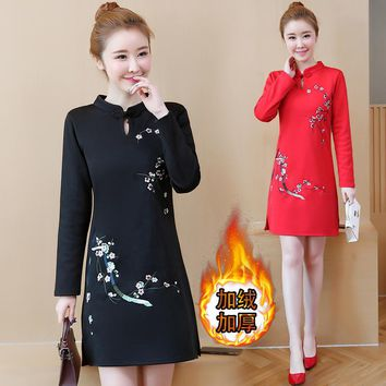 New Year Chinese Style Improved Cheongsam with Velvet Women Vintage Stand Collar Floral Print Mini Dress 5XL Plus Size Red Dress
