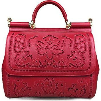 DOLCE & GABBANA Miss Sicily Red Floral Lace Laser Cut Out Nappa Bag Handbag Purse