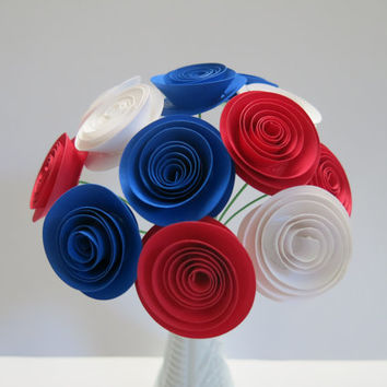 USA Patriotic Flower Centerpiece, Red White and Blue paper Roses on stems, 4th of July Picnic decorations, Wedding US France flag colors