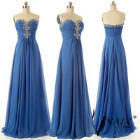 Elegant Custom Made A Line Long Chiffon Wedding Party Dress Blue Crystal Formal Evening Dresses 2014 Bridesmaid Dress