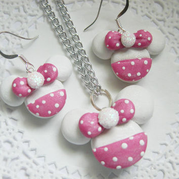 Minnie Mouse Jewelry Set Polymer Necklace Set Earrings And Necklace for Tweens, Teens and Adults