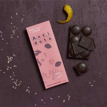 Antidote Chocolate - Hebe: Rose Salt + Lemon 77% with slow roasted cacao