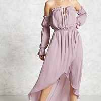 Contemporary Satin Peasant Dress