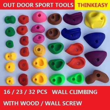 THINKEASY 32/16 Pieces Plastic children Indoor Rock Climbing Stones toy Kids Toys Sports Hold outdoor game Playground With screw
