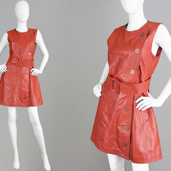 Vintage 70s JEAN MUIR Rare Red Leather Dress A Line Dress Space Age Dress Womens Mod Dress 1970s Designer Dress Real Leather Dress Go Go