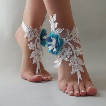 EXPRESS SHIPPING White  lace peacock Barefoot Sandals flowers rhinestone beach wedding barefoot sandals Beach footless sandles