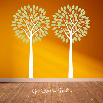 2 Trees Wall Decal Leaf Branch Forest White Green Nursery Kitchen Calming Relax Fresh Spring Season Orange Grove Pair Nature Outdoor Decor