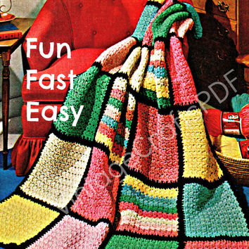 Beginner Crochet Pattern-Quick and Easy Crocheted Afghan Pattern-Bedspread Pattern-Crochet Pattern-Cover Pattern-Fast Fun Easy Crochet