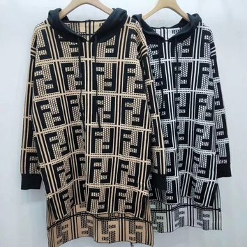 FENDI FF Knit Hooded Dress