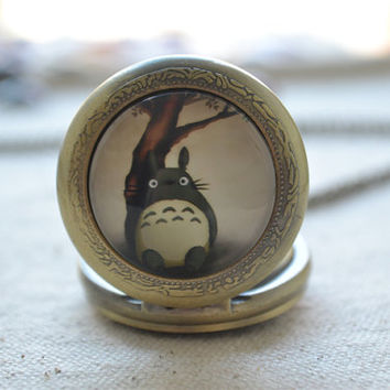 Totoro Pocket Watch,My neighbour totoro pendent Necklace,anime jewelry,unisex (HB002)