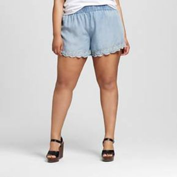 Women's Plus Size Embroidered Soft Short - Mossimo Supply Co.
