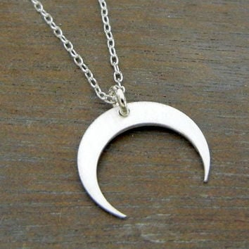 Downward Silver Crescent Moon Necklace, Sterling Silver Pendant, Chain, MYSTIC by E. Ria Designs