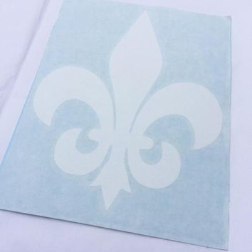 Fleur de Lis Vinyl Decal / Transfer / Sticker in White for your Laptop, Car Window, Tumbler, etc. - NOLA New Orleans Design - Free Shipping!