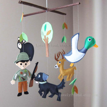 "Baby Crib Mobile - Baby Mobile - ""Hunter Day"" Mobile (Pick your color) - Crib Mobile - Black Bear nursery room decor"