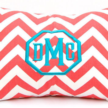 Monogrammed Coral Chevron Pillow Cover by FestiveHomeDecor on Etsy