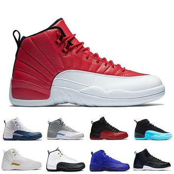 with box air retro 12 xii men basketball shoes ovo white red suede black gs barons flu game wolf grey taxi sports sneakers