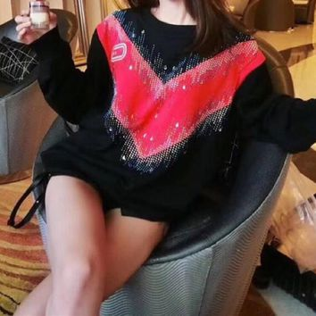 """""""Gucci"""" Women Casual Fashion Sequin V Letter Embroidery Letter Print Multicolor Long Sleeve Cotton T-shirt Top Tee"""